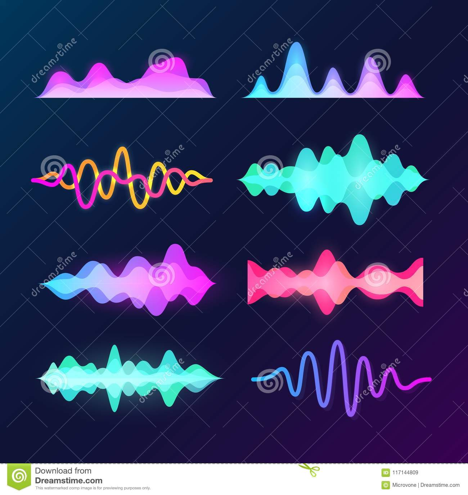 在黑暗的背景隔绝的明亮的颜色声音声音波浪 抽象信号波形、音乐脉冲和调平器波向量集合