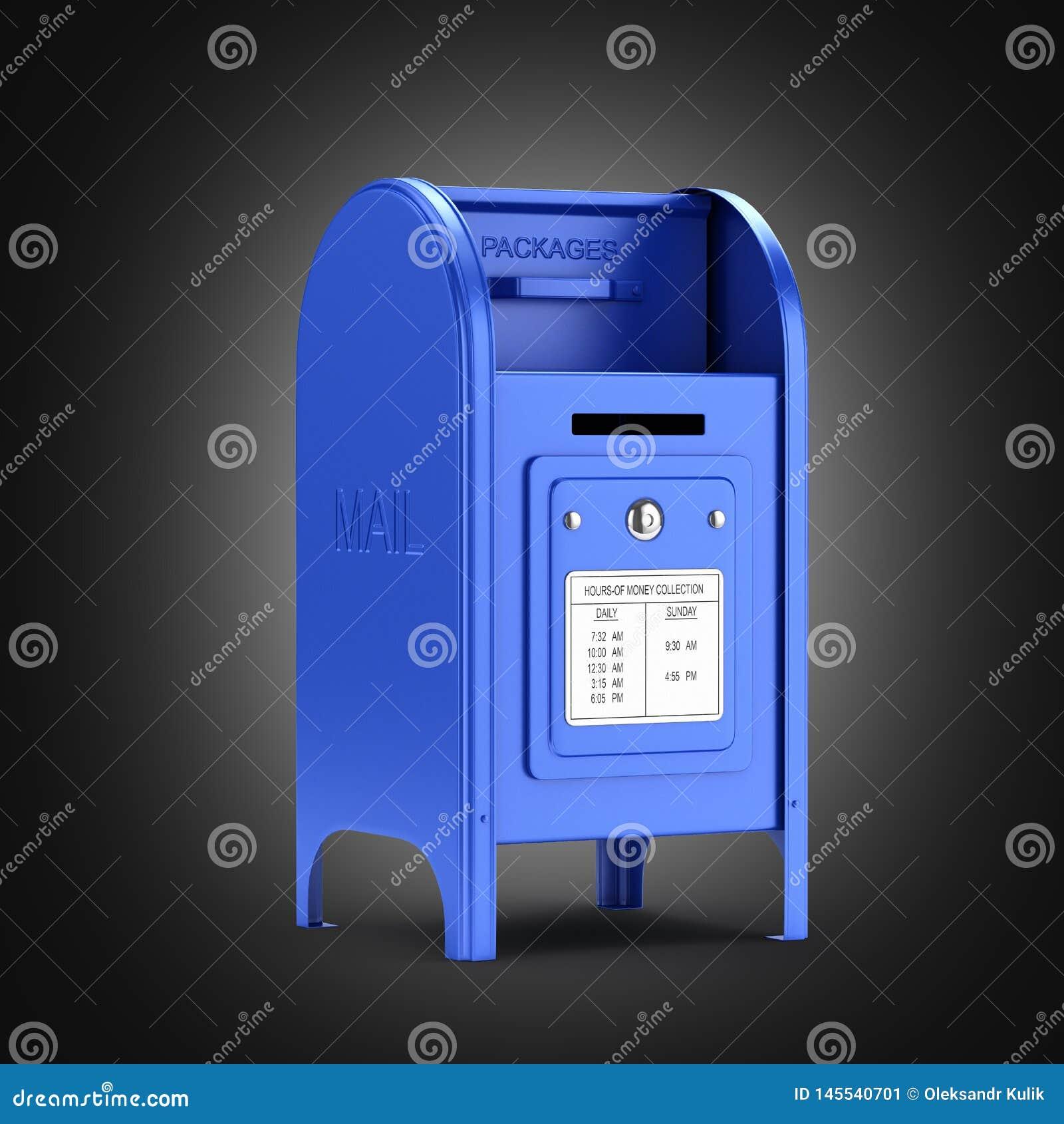 在黑梯度背景3d的深蓝邮箱