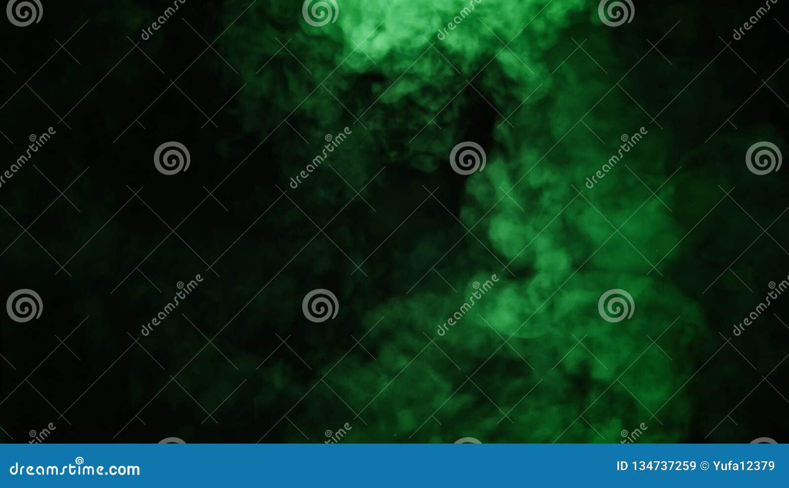 在黑背景的抽象绿色烟薄雾雾 纹理 设计要素例证图象向量