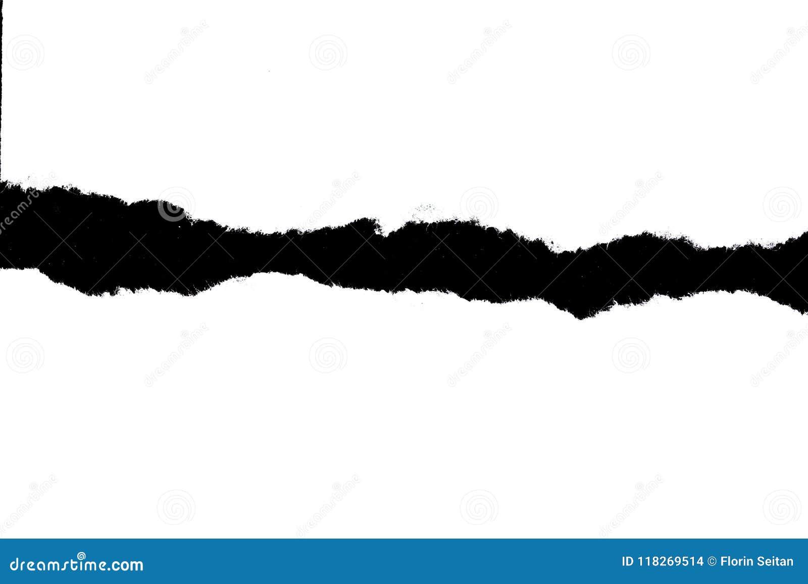 在黑背景的白色被撕毁的纸与拷贝空间