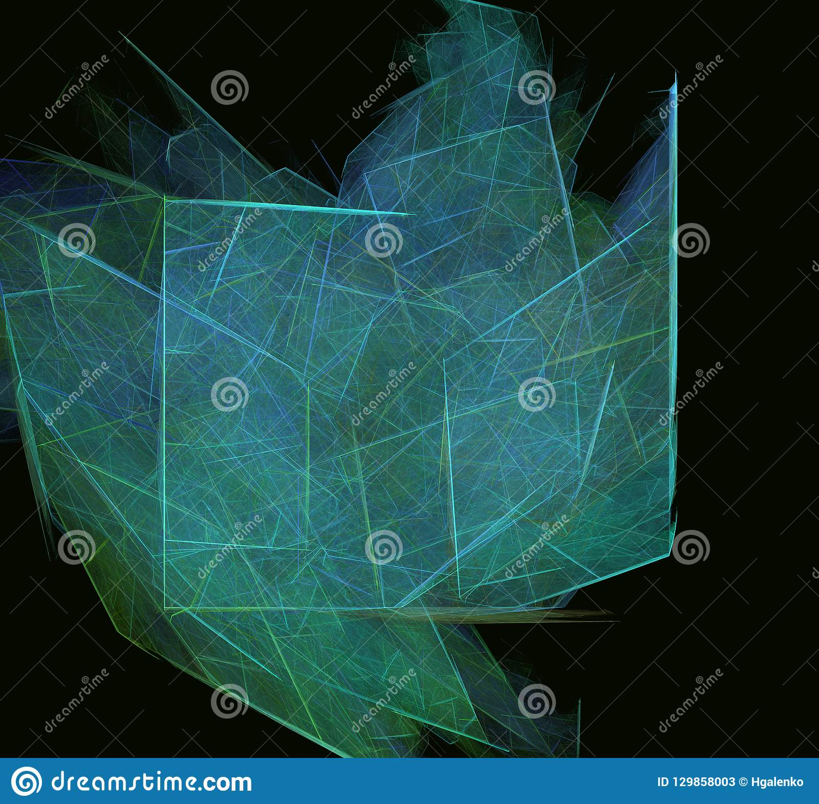 在黑背景的青绿的抽象分数维纹理 幻想分数维纹理 abstact艺术深深数字式红色转动 3d翻译 计算机生成im