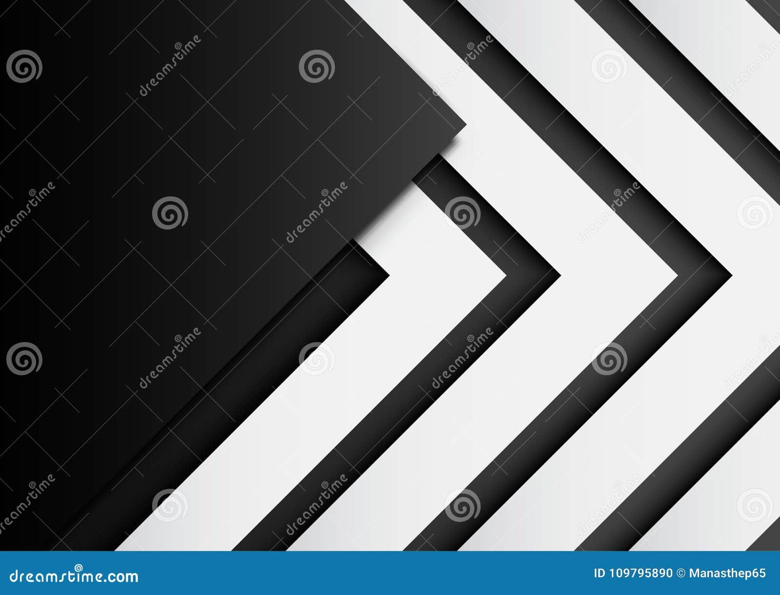 03 在黑背景的黑白箭头与纸艺术猪圈