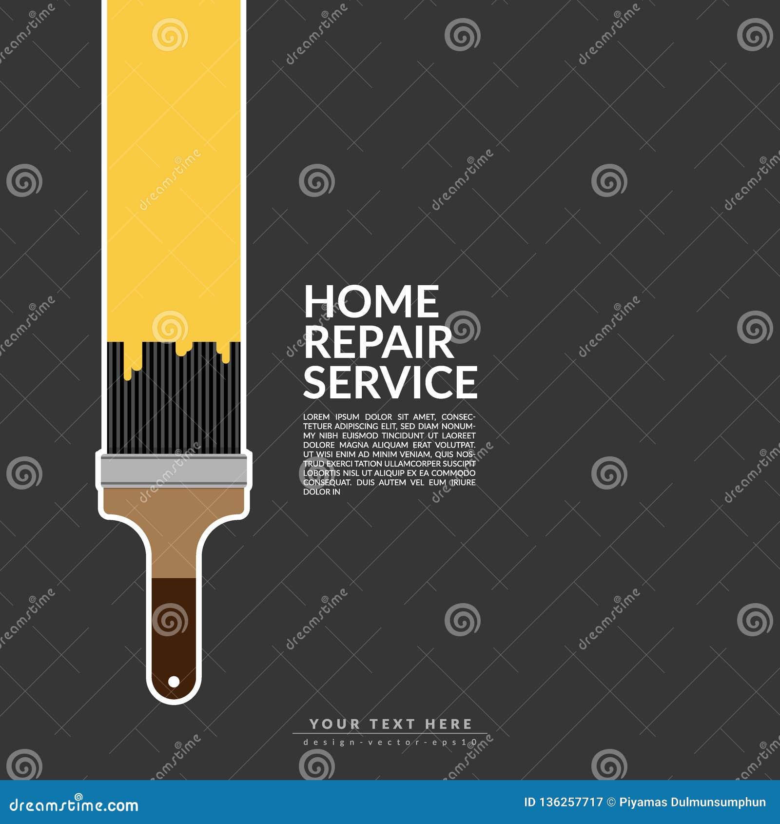 在黑背景隔绝的房子商标的漆滚筒油漆黄色颜色 创造性的家庭整修服务和绘画