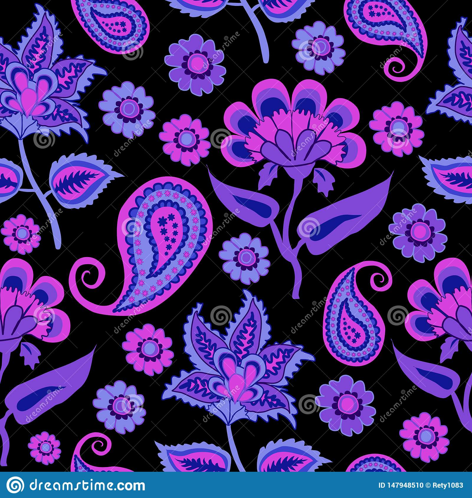在黑色,重复样式Backround的阿拉伯Pasleys的印度Kalamkari无缝的样式紫色