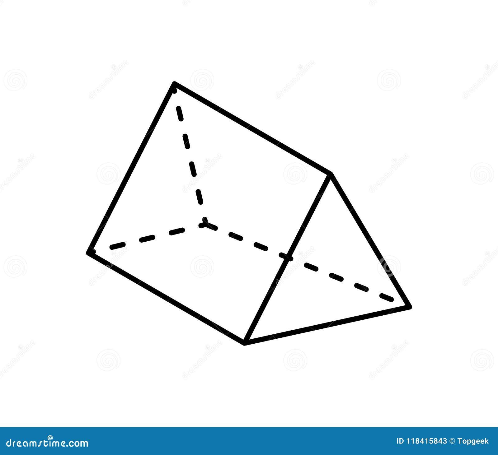在黑颜色的三棱柱几何形象