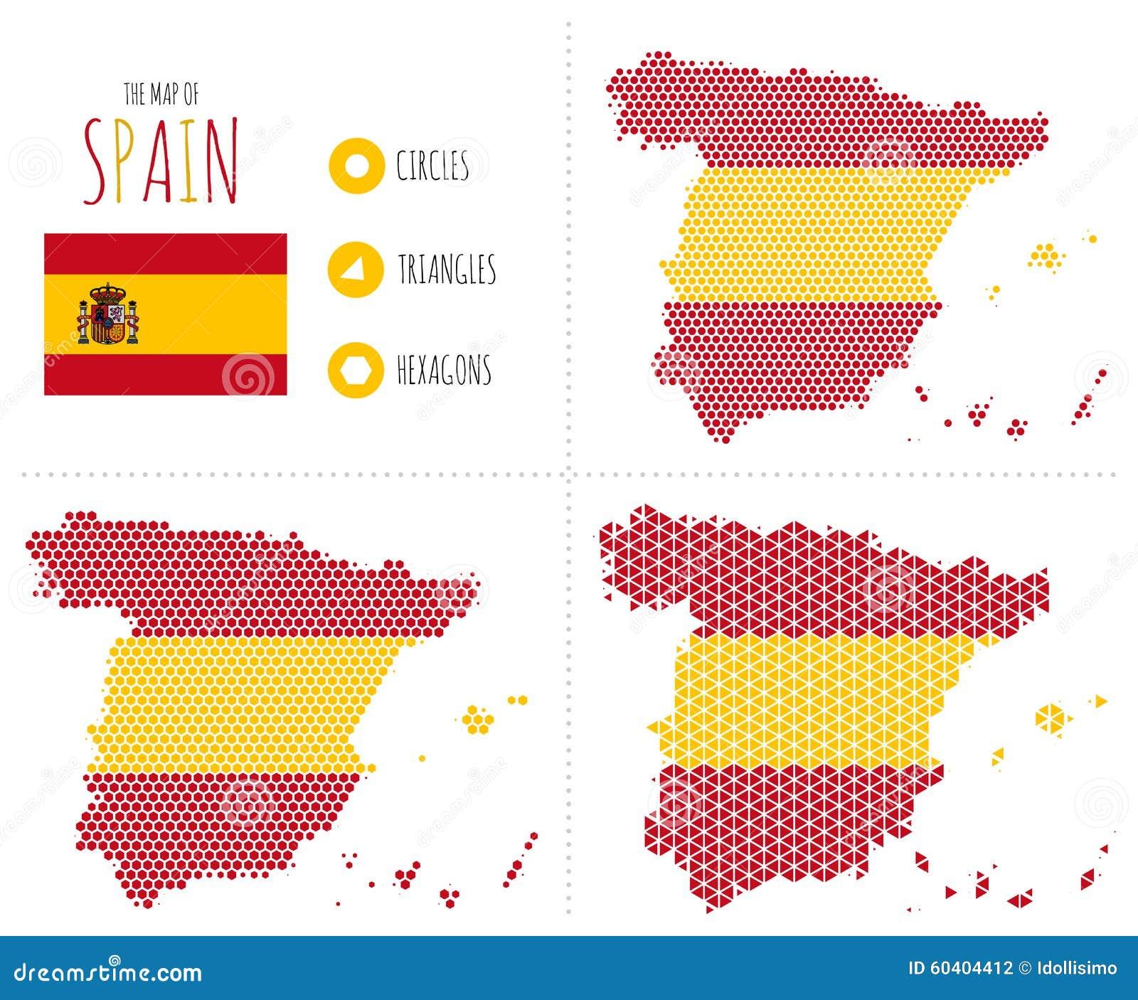 在3个样式的西班牙地图