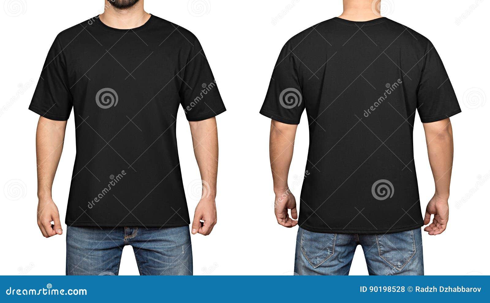 在年轻人白色背景、前面和后面的黑T恤杉