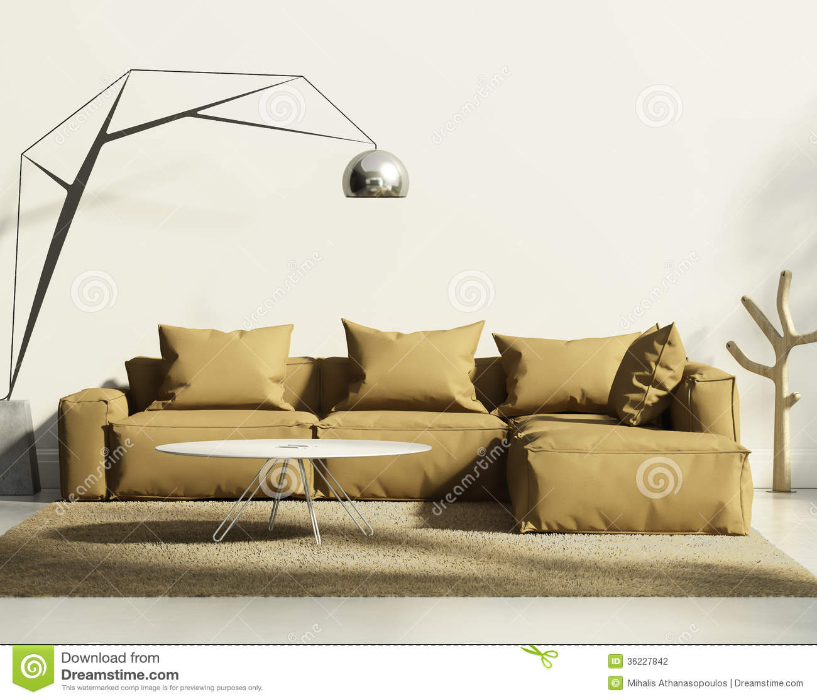 在新当代白色样式内部的烟草沙发.图片