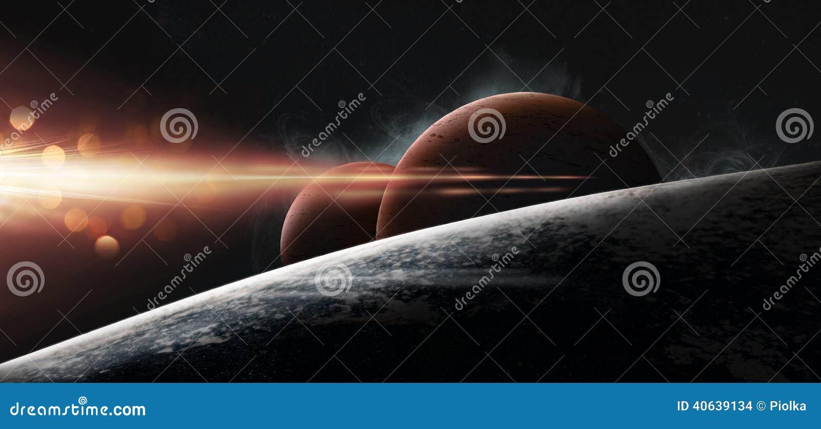 在满天星斗的背景的行星