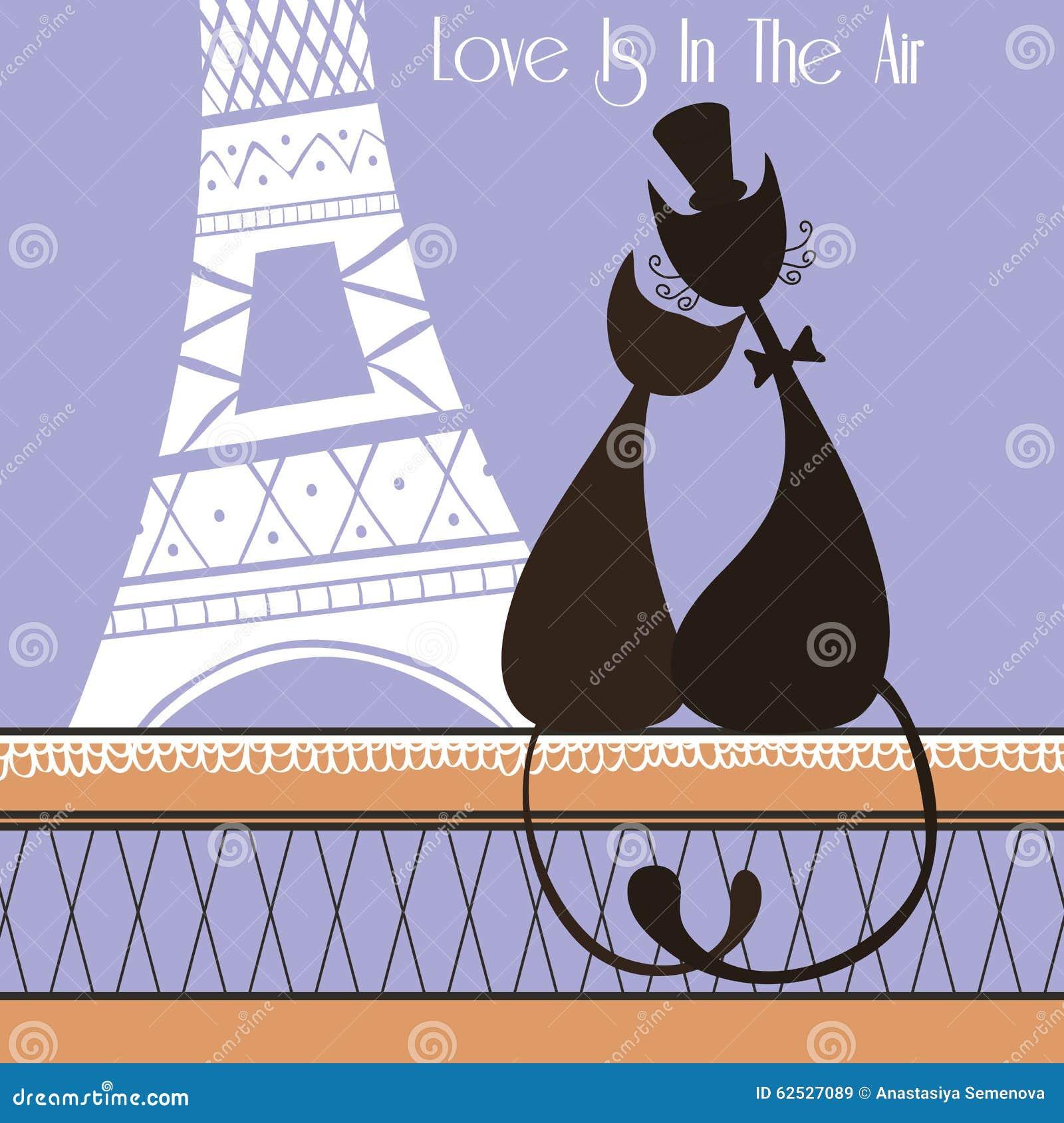 在巴黎导航与逗人喜爱的恋人猫的例证