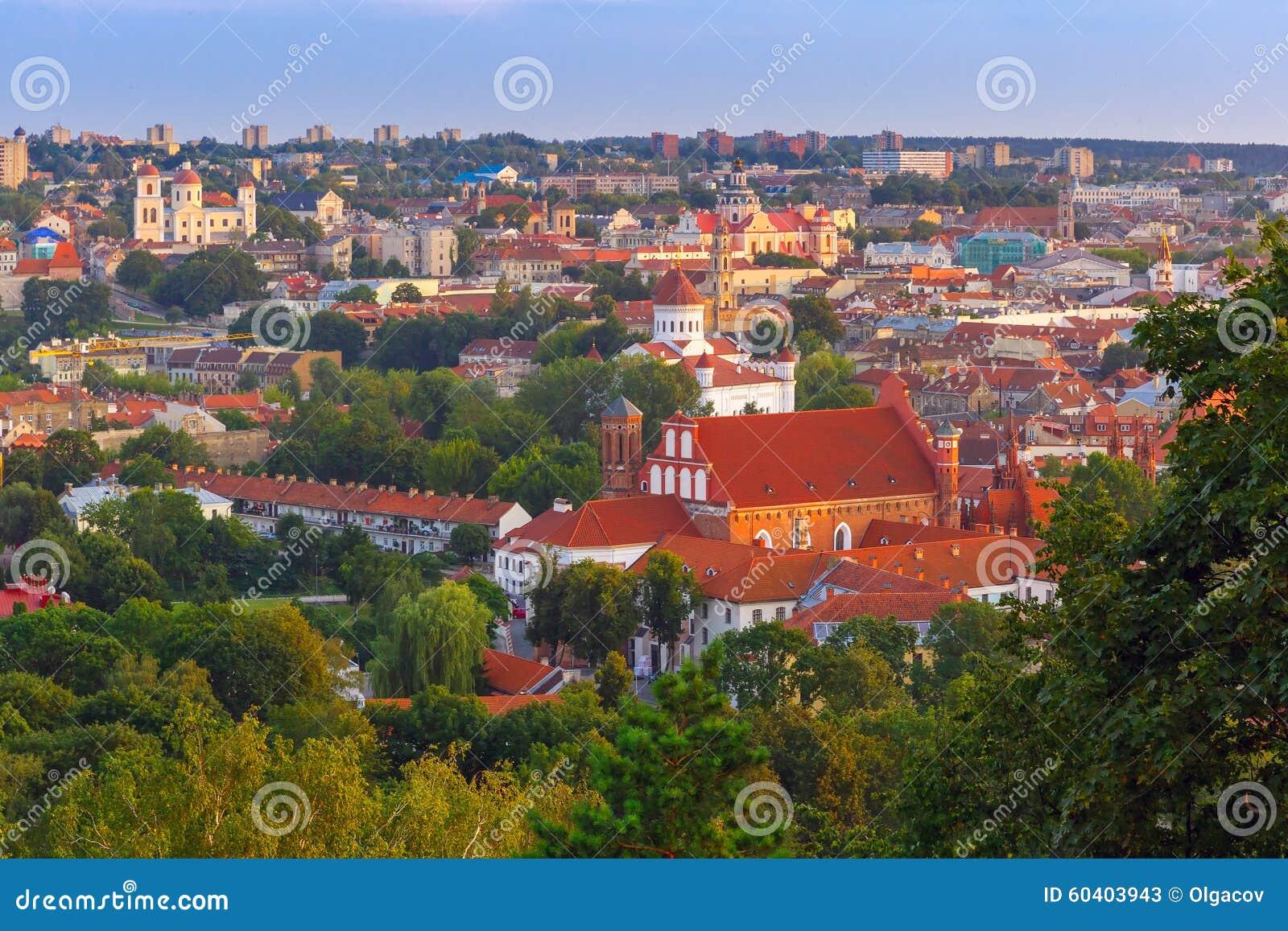 在维尔纽斯,立陶宛老镇的鸟瞰图