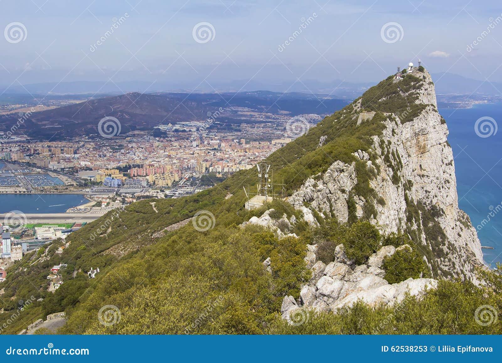 在直布罗陀从上面使看法环境美化在直布罗陀和Linea de康塞普西翁角西班牙镇岩石