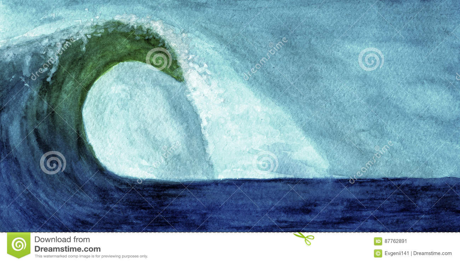 在水彩的海浪