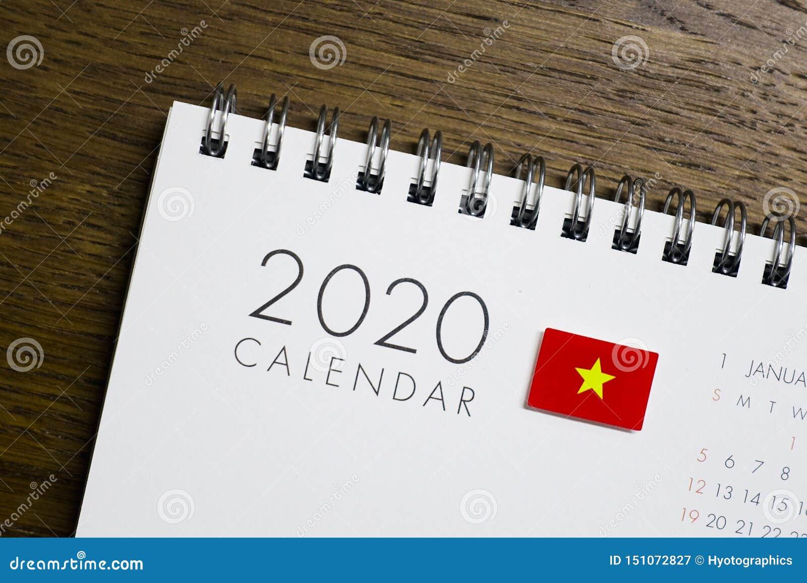在2020日历的越南旗子