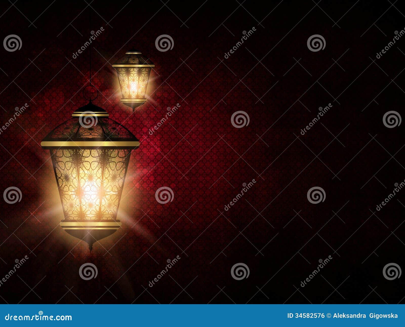 在黑暗的eid Al fitr背景的发光的灯笼