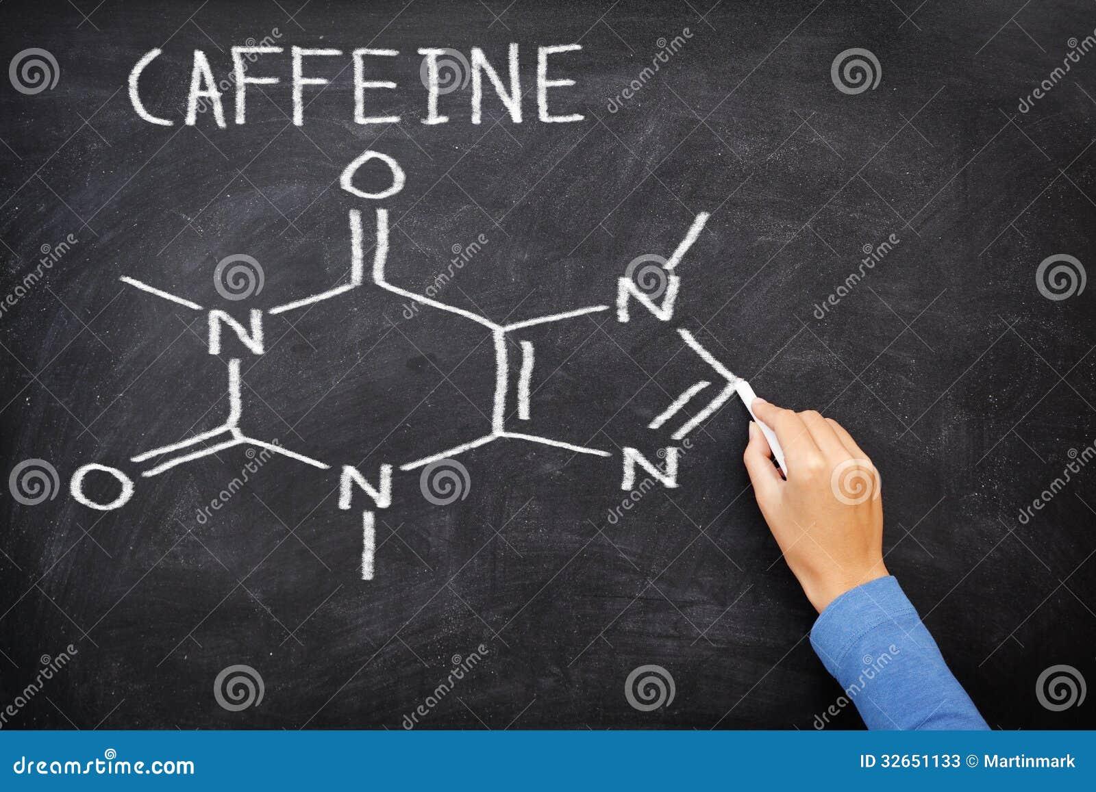 在黑板的咖啡因化工分子结构