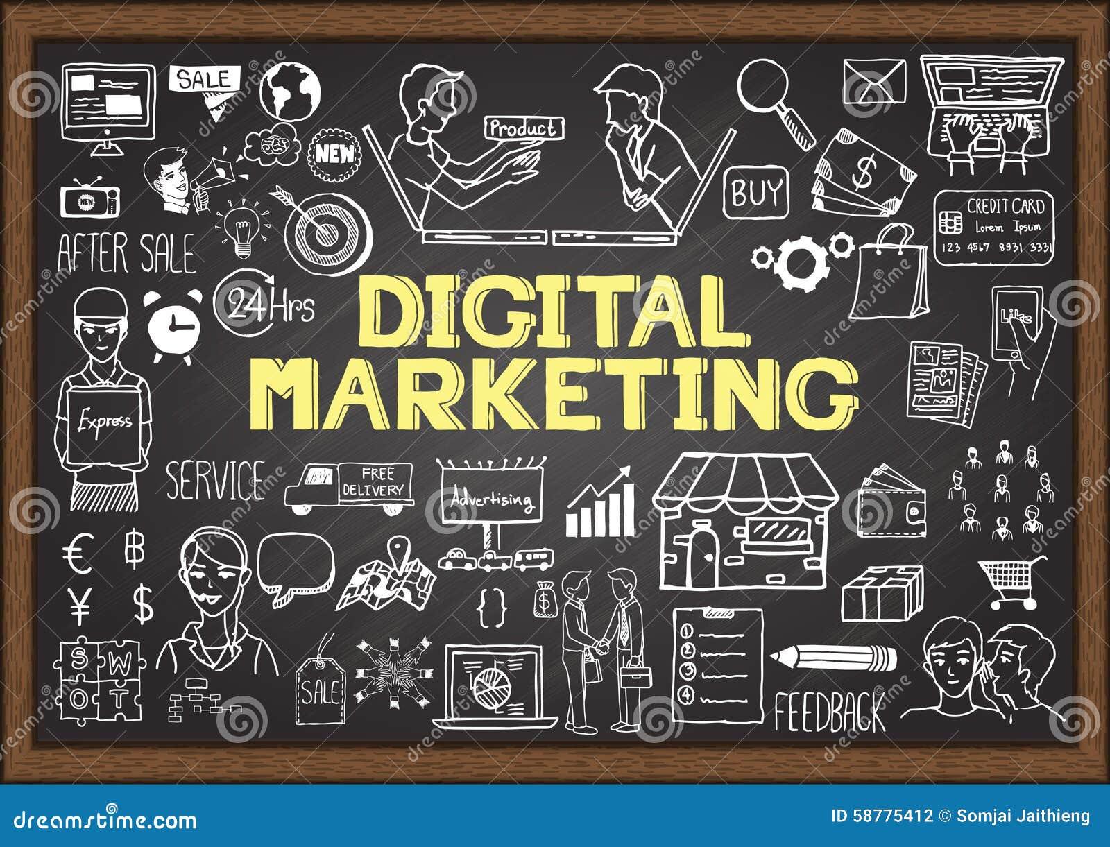 在黑板的手拉的信息图表有数字式营销概念的