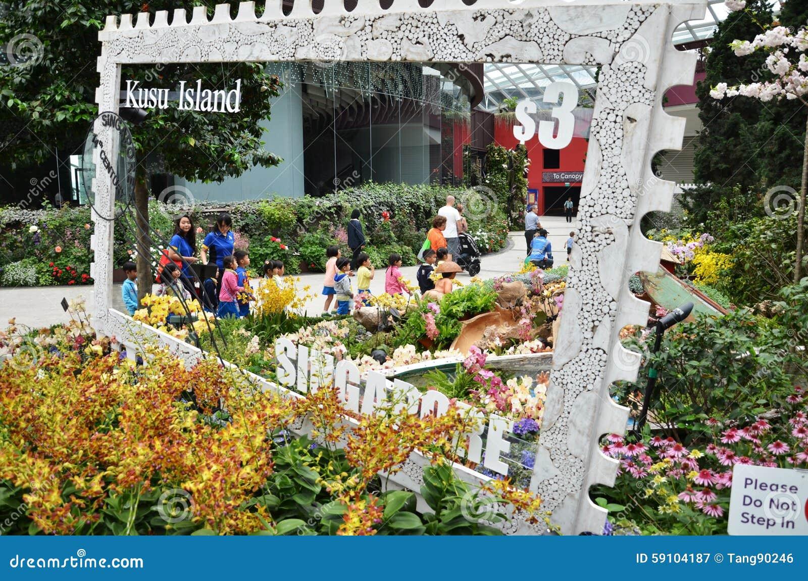 在滨海湾公园的花圆顶在新加坡