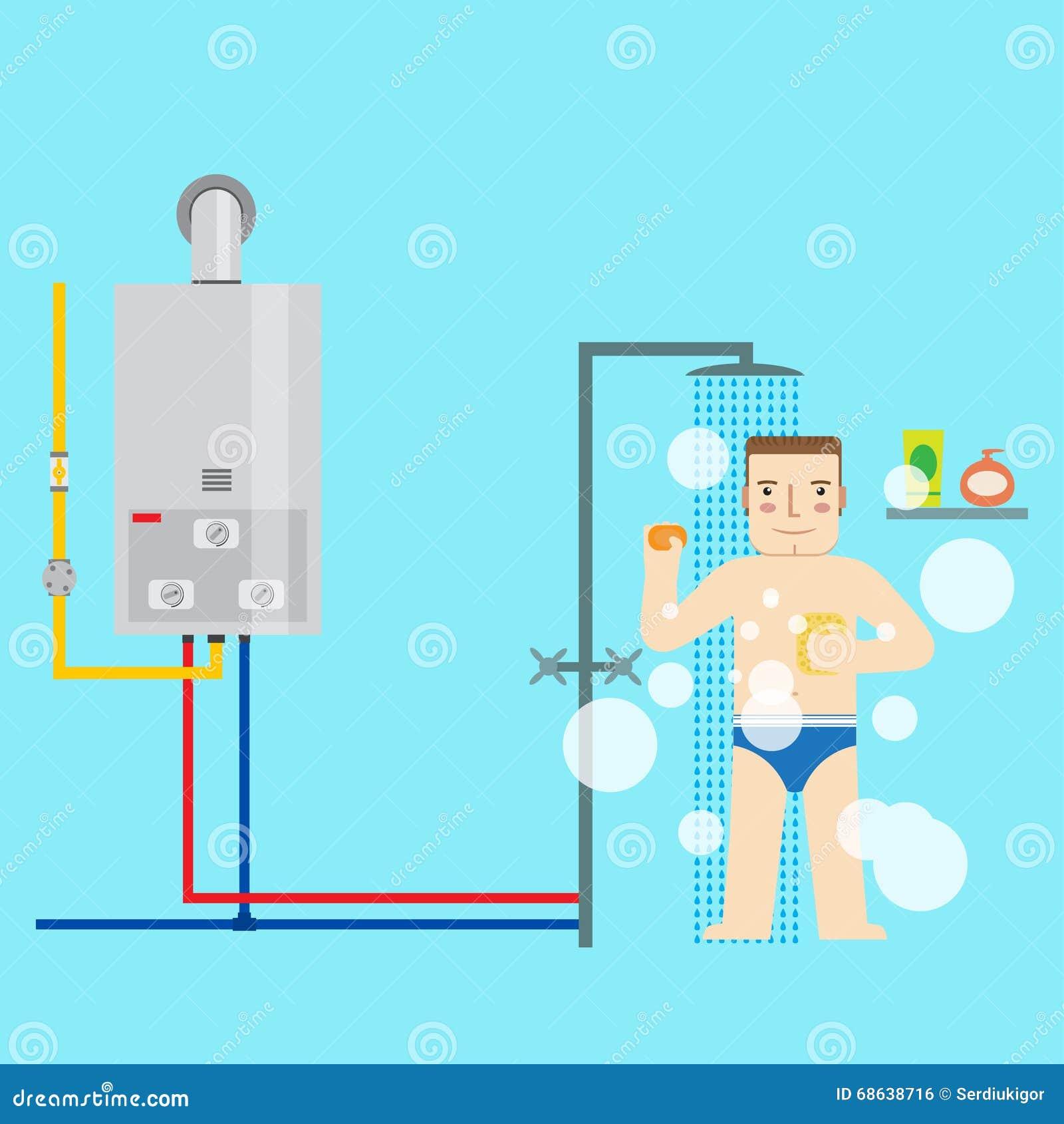 在洗澡的卫生间里供气水加热器和人 平的i
