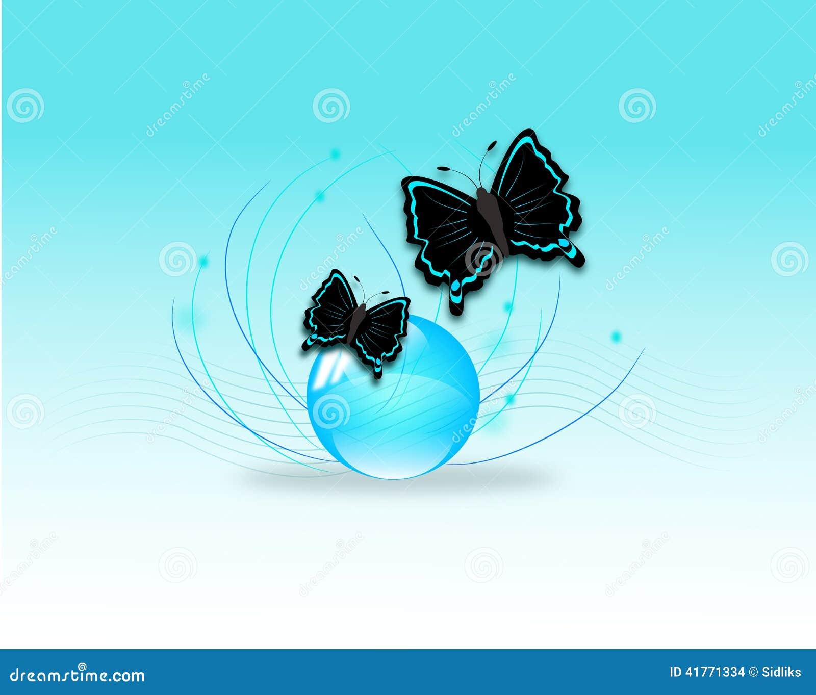 在蓝色球的两只黑暗的蝴蝶.图片