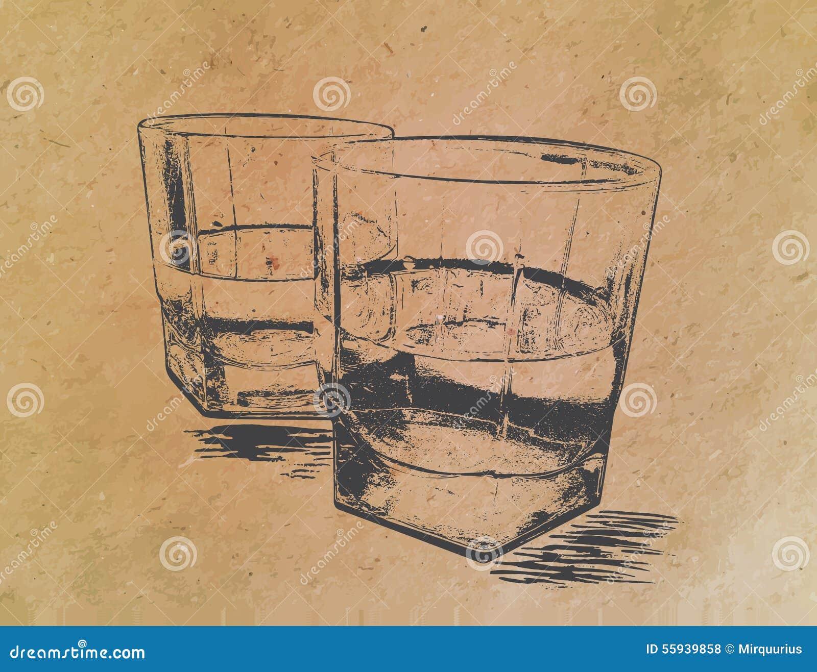 在玻璃的威士忌酒在纸背景 刻记