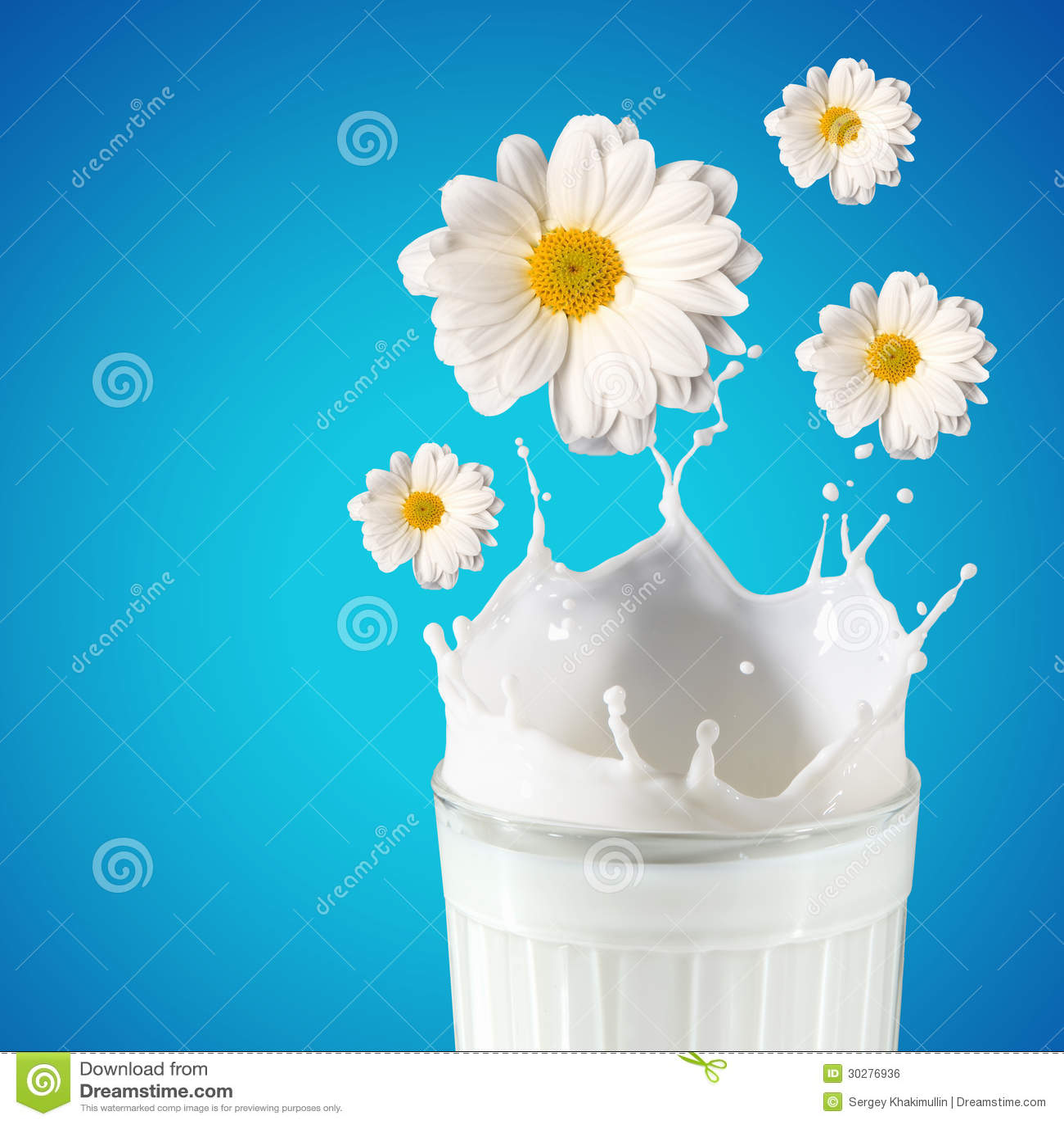 在玻璃的新鲜的牛奶