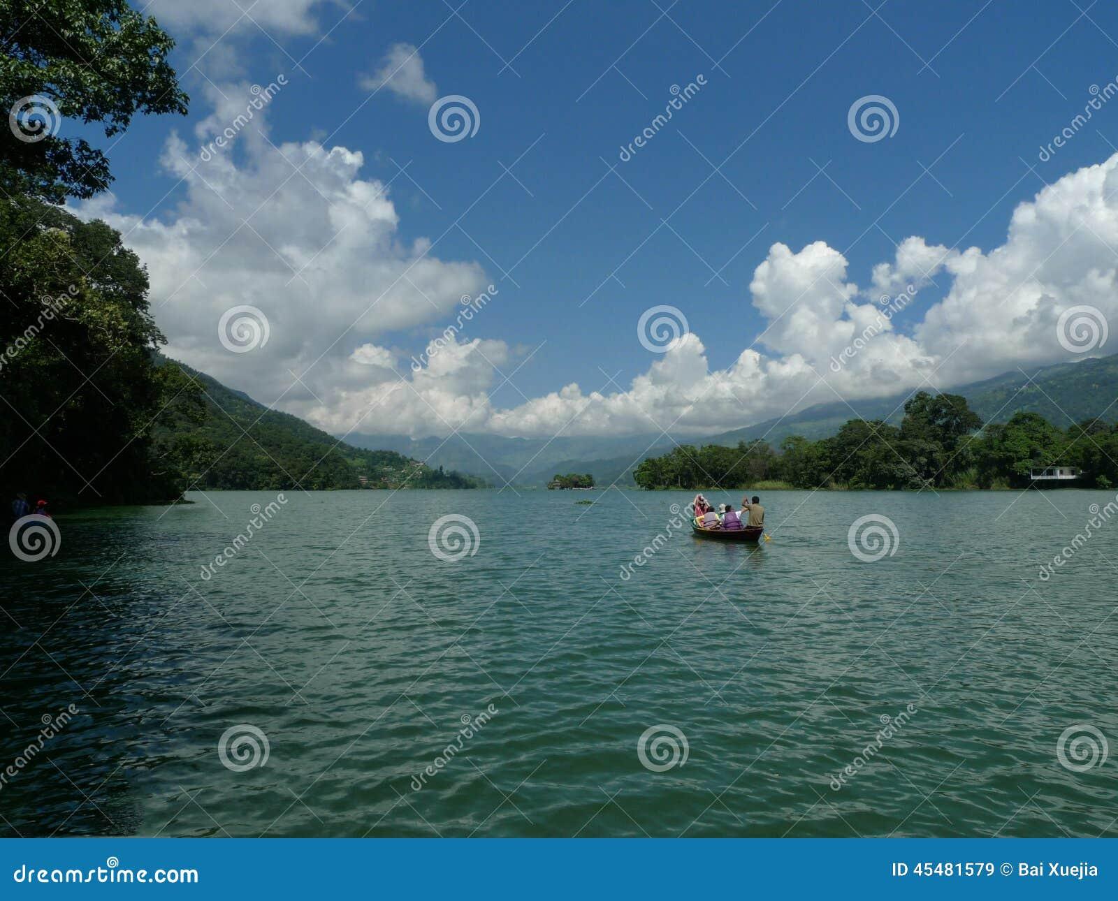 在费瓦特湖, pokhara,尼泊尔的风景
