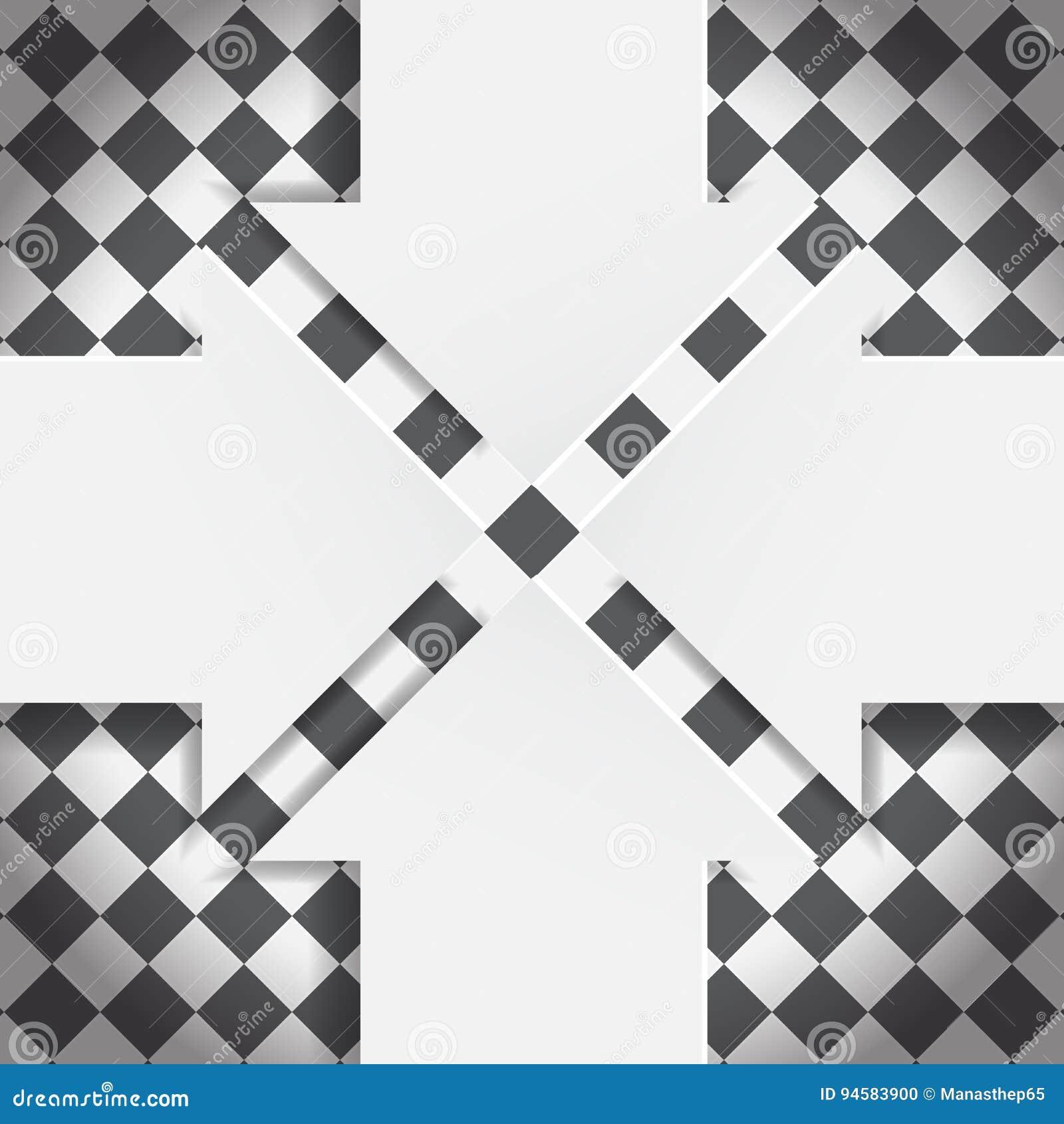 在黑白棋盘的抽象箭头