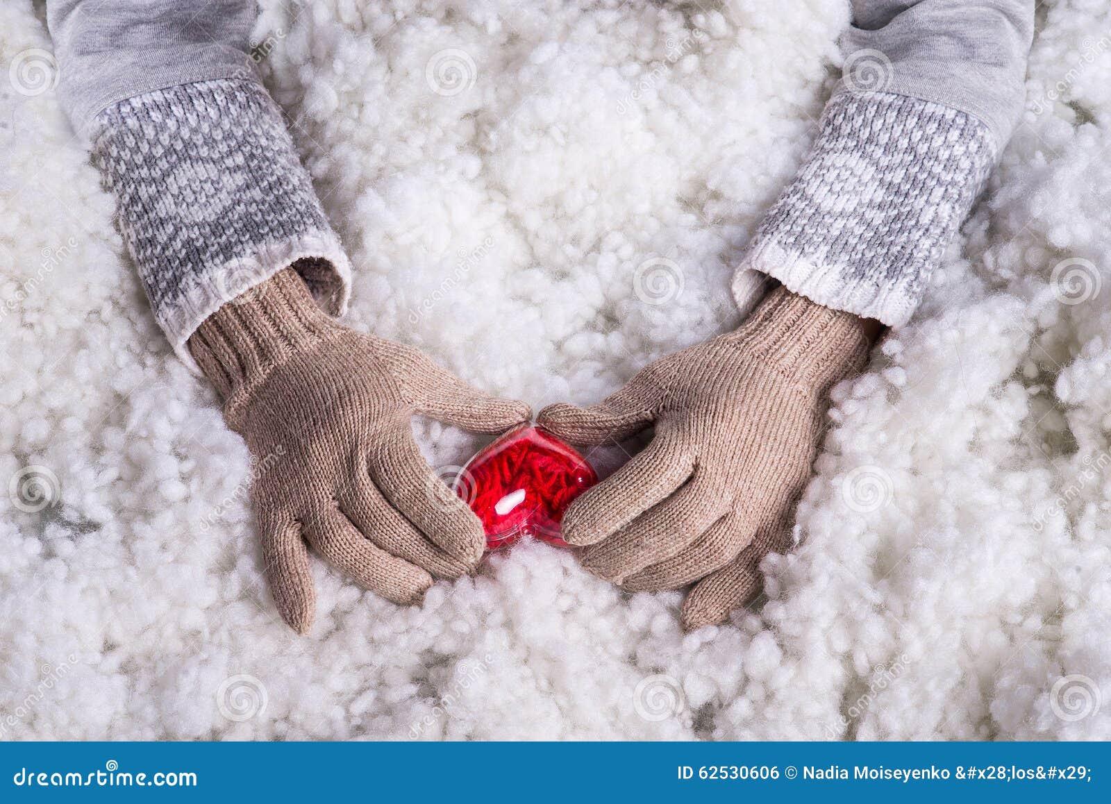在轻的小野鸭被编织的手套的妇女手拿着在雪的美好的纠缠的葡萄酒红色心脏