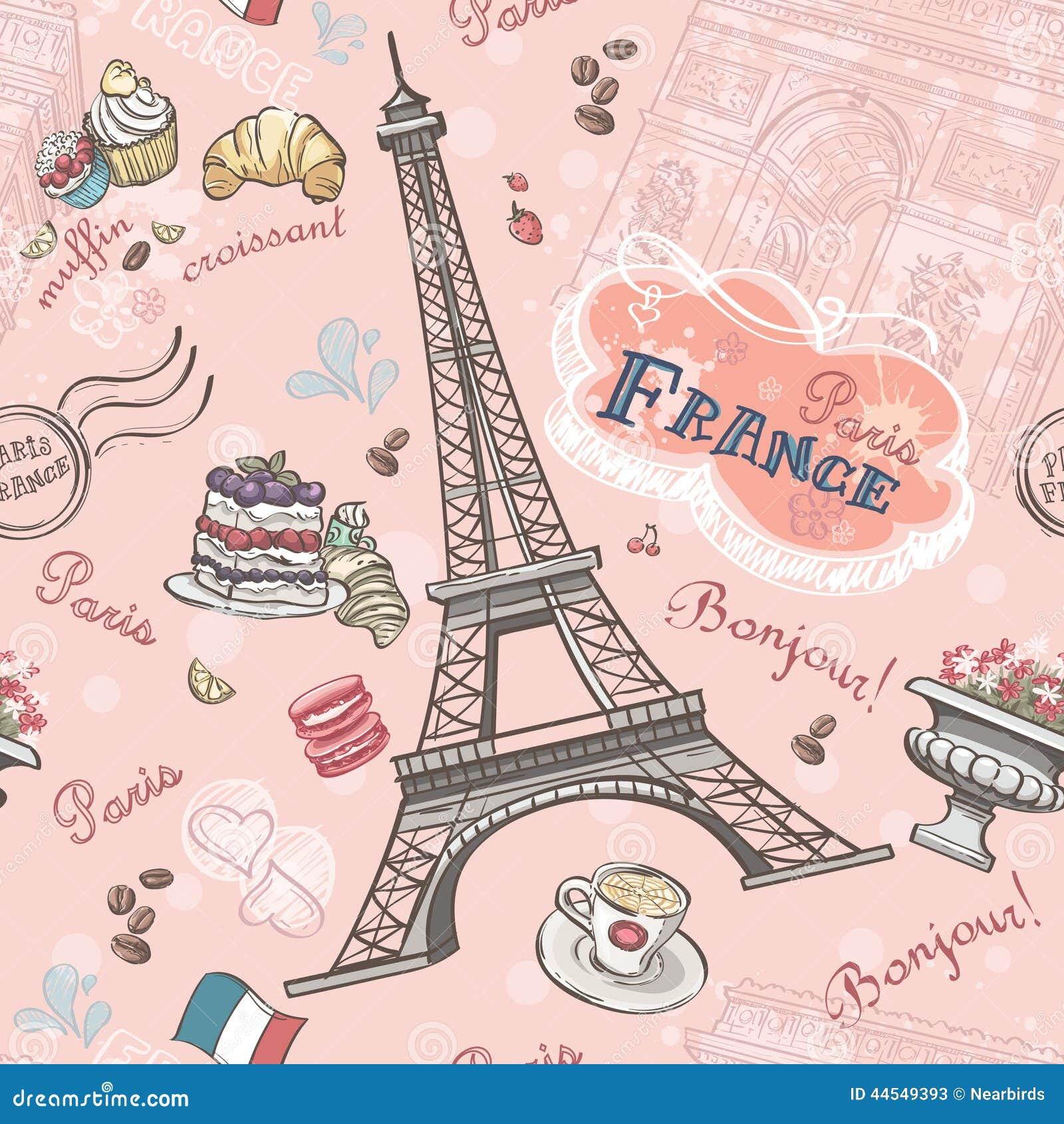 在巴黎的无缝的样式从浪漫元素