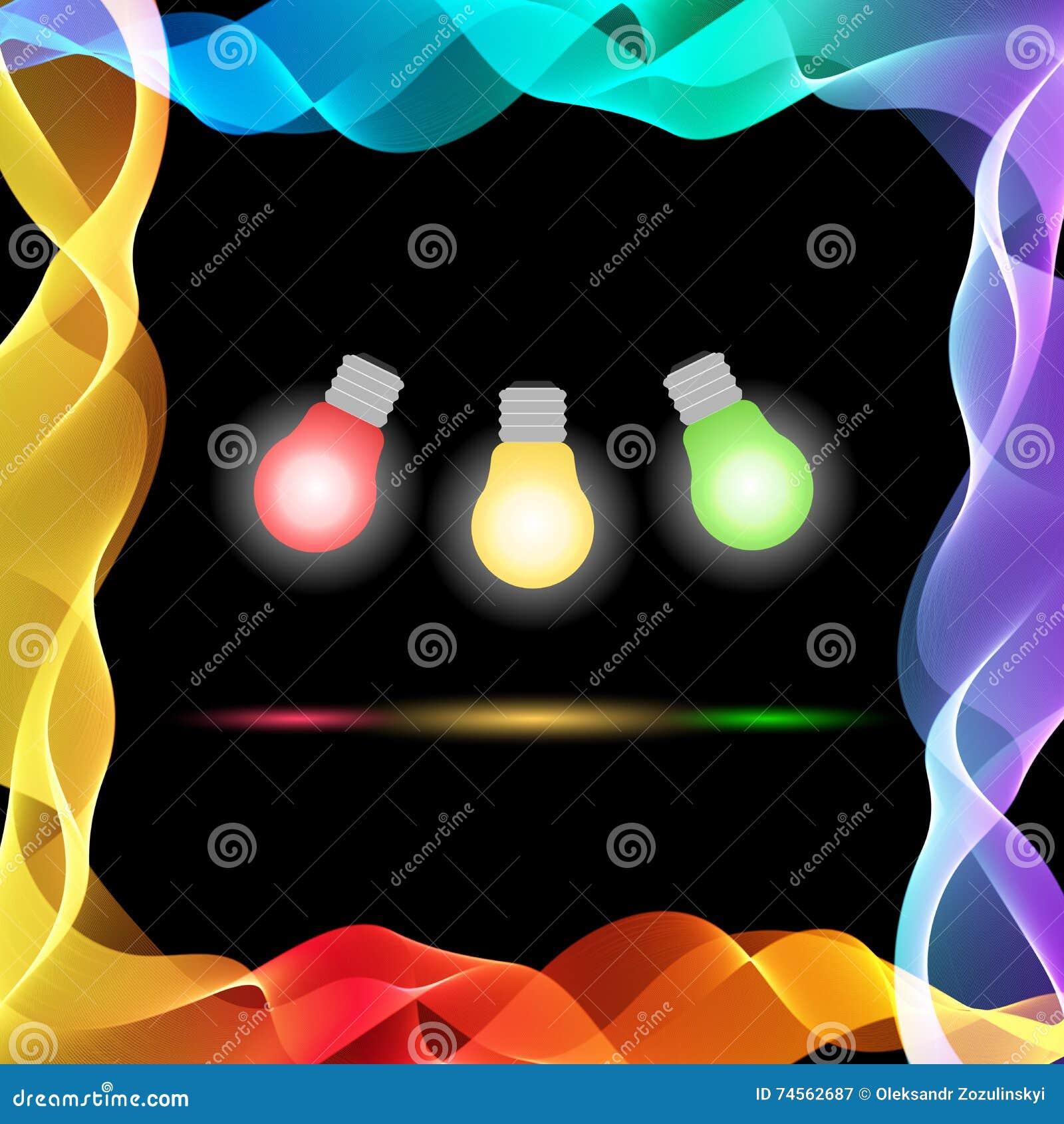 在黑背景的传染媒介抽象五颜六色的波浪