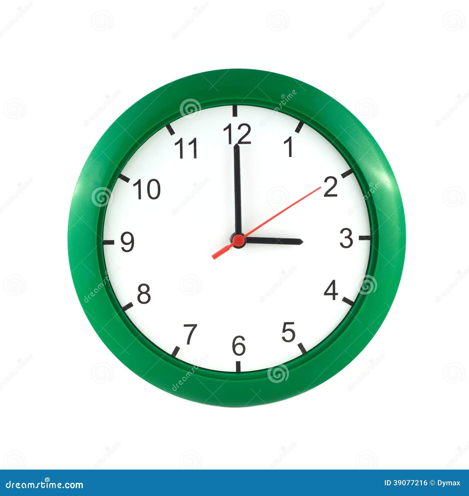 在大壁钟的三时在白色关闭隔绝的绿色盒.图片