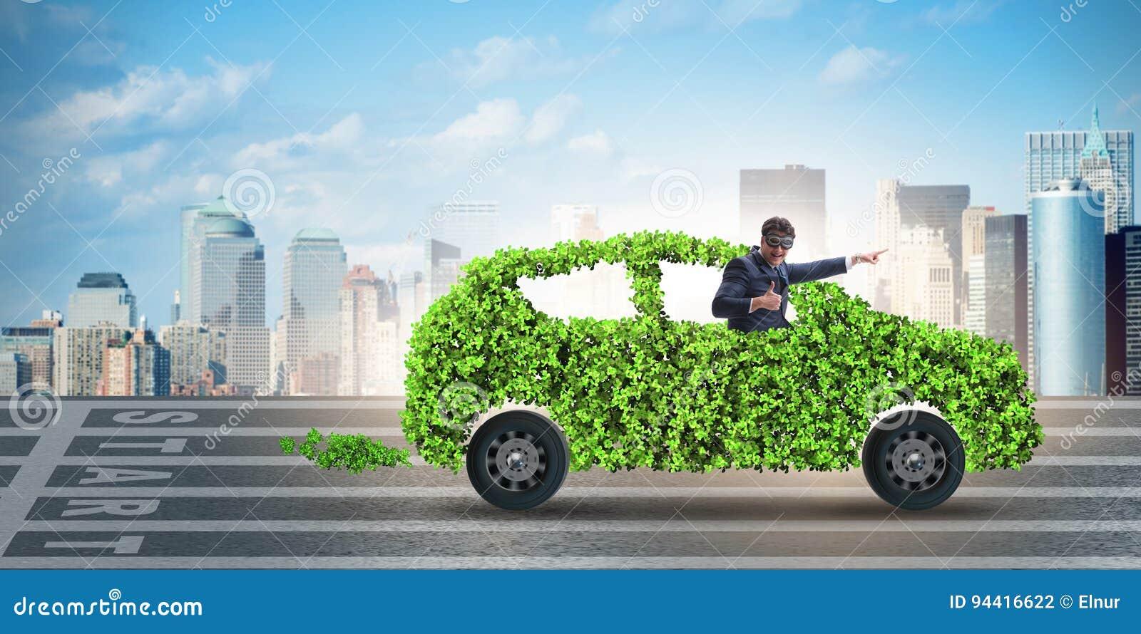 在绿色电车概念的商人