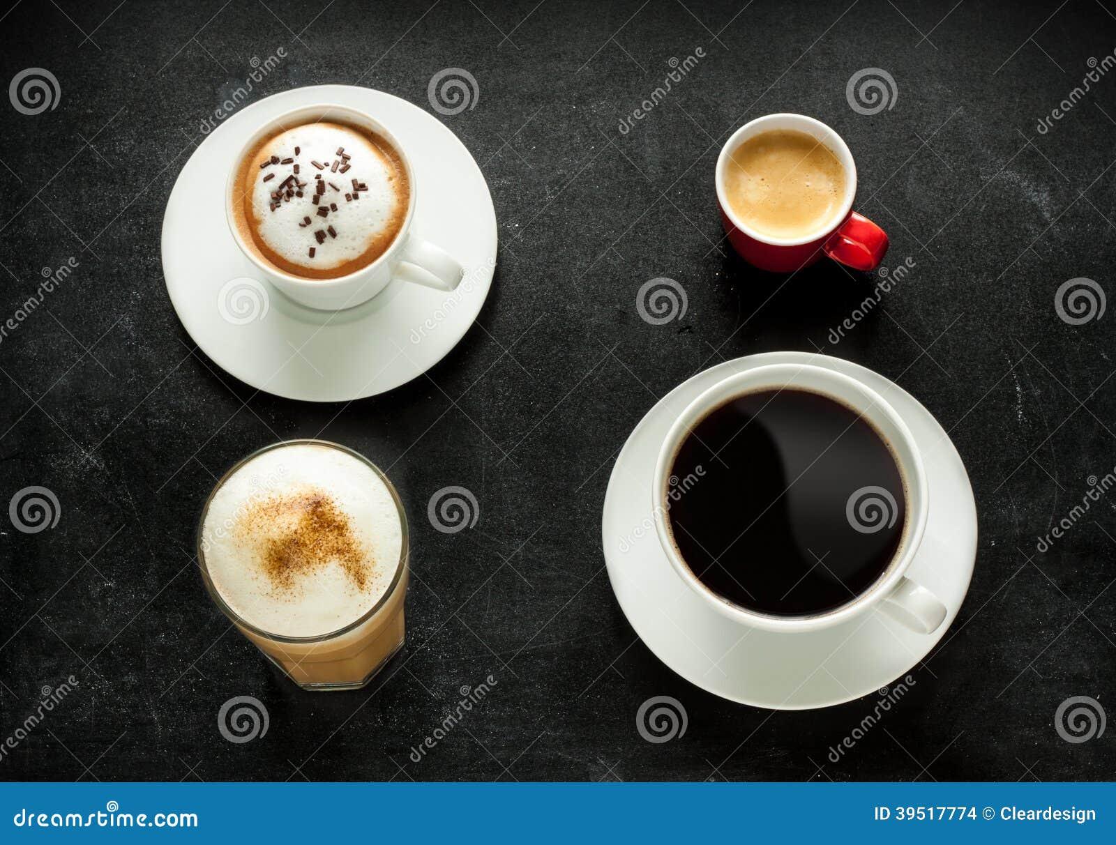 在黑色的热奶咖啡、浓咖啡、americano和拿铁咖啡