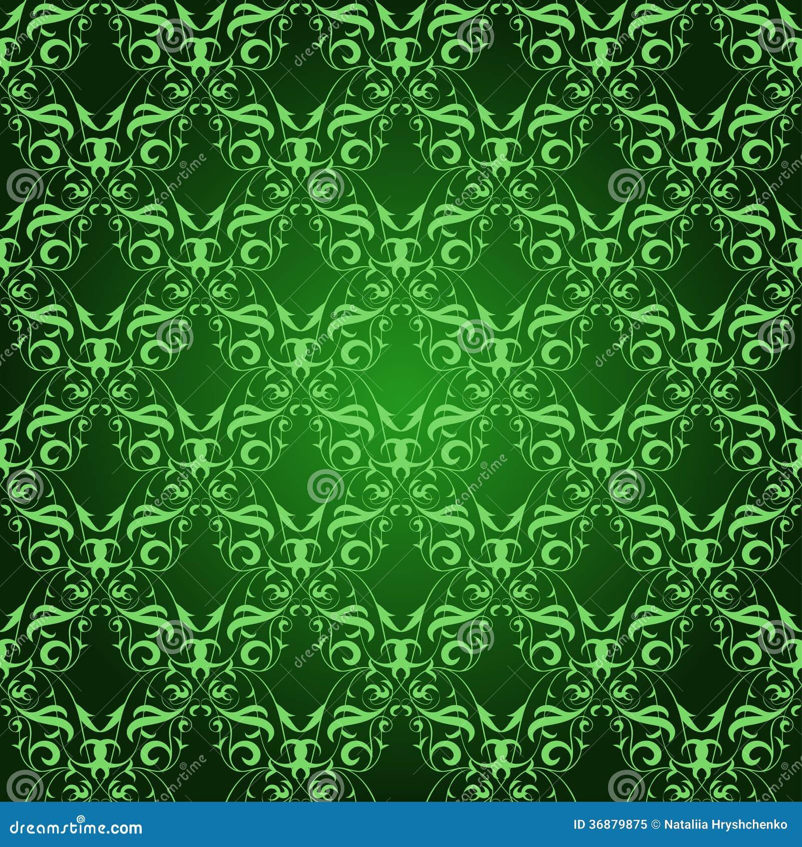 在绿色的葡萄酒锦缎无缝的样式