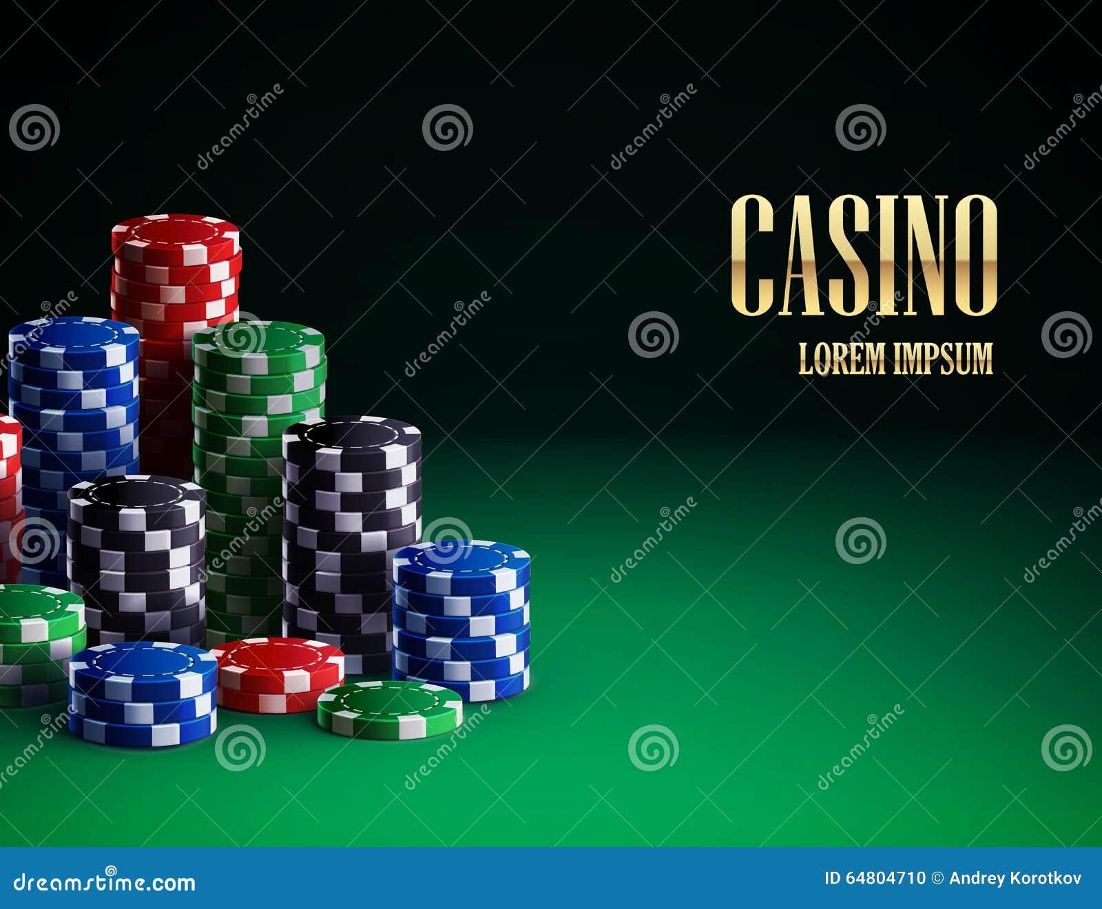 在绿色背景的赌博娱乐场芯片