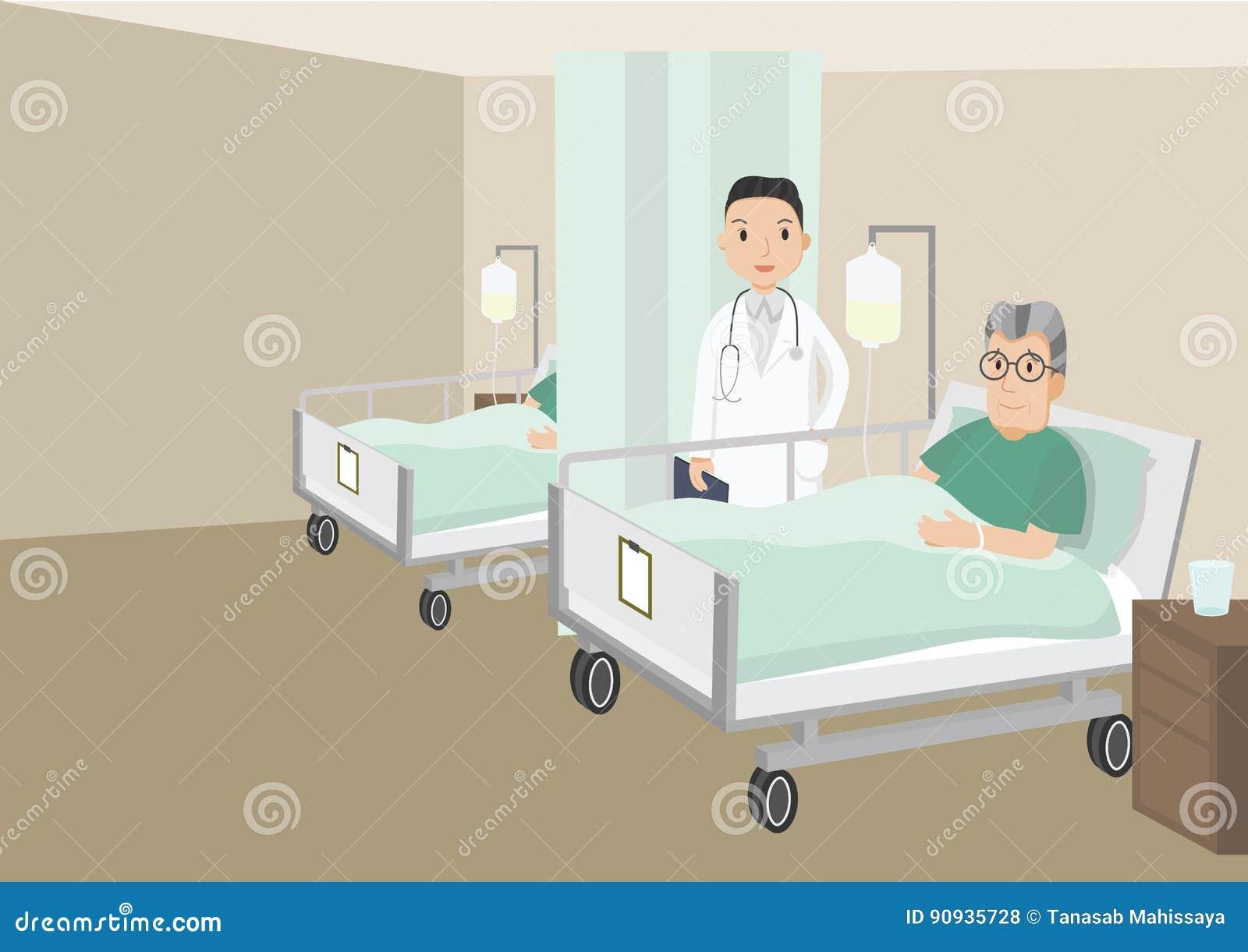 在医院病床上的哀伤的老人