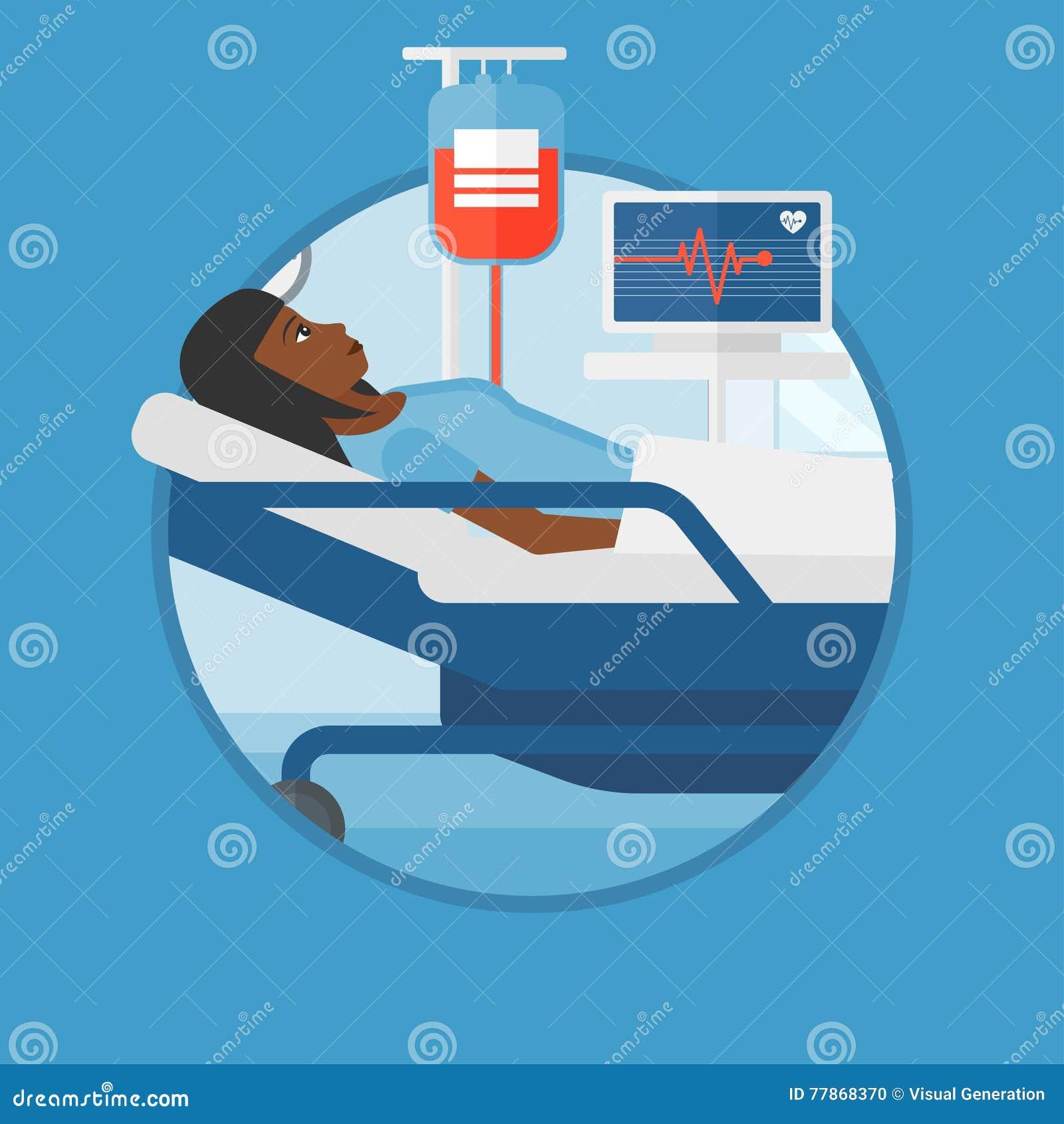 在医院病床传染媒介例证的妇女