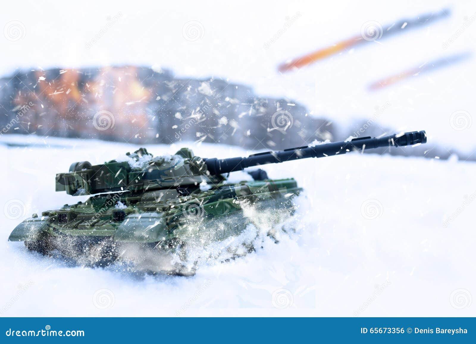 在暴风雪的坦克争斗