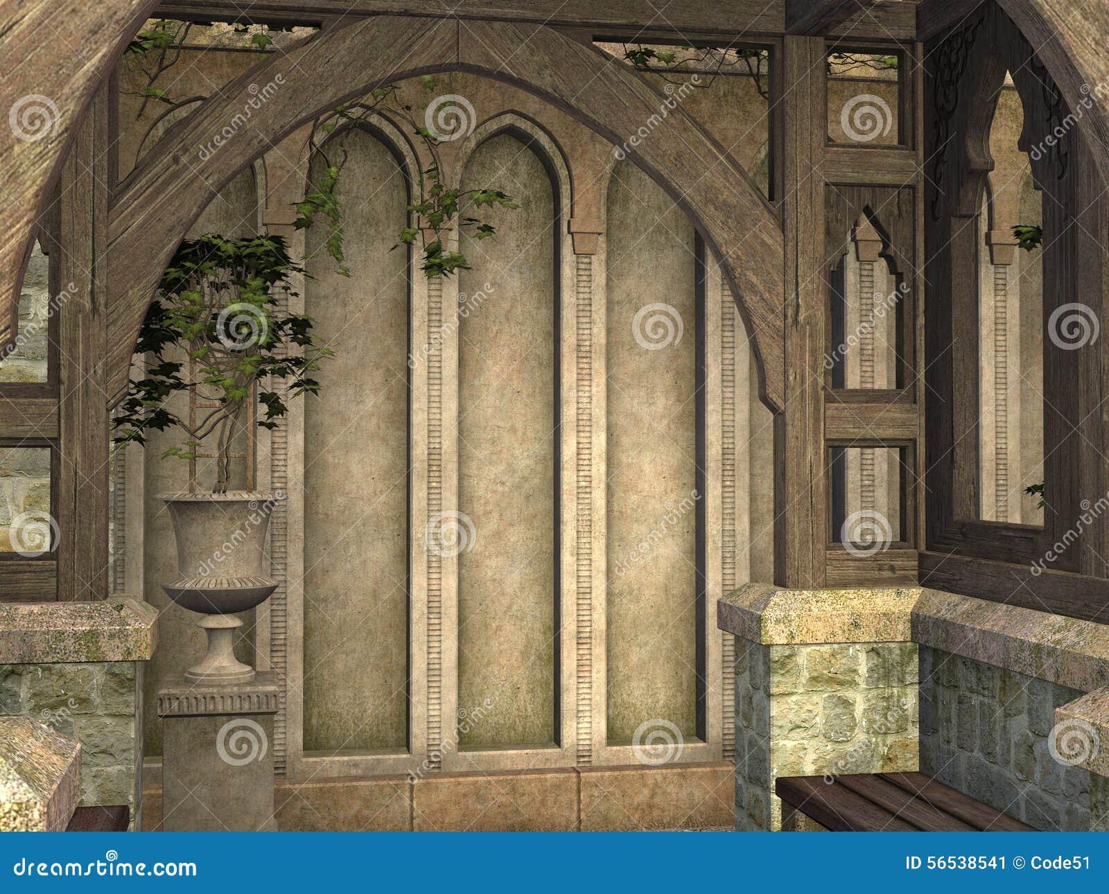 在3D回报的中世纪拱道亭子大厦
