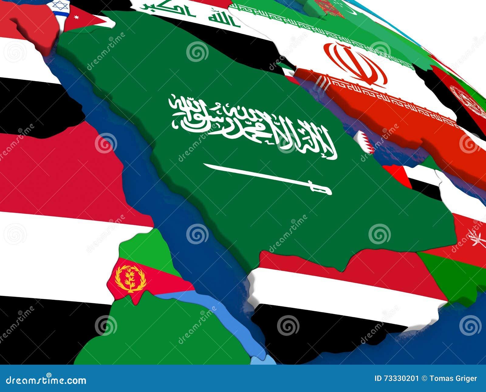 在3D地图的阿拉伯半岛与旗子