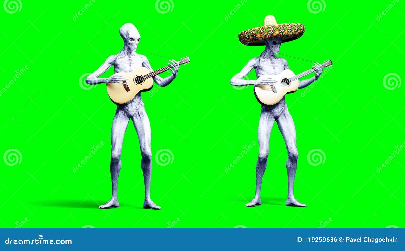 在acustic吉他的滑稽的外籍人戏剧 现实行动和皮肤shaders 3d翻译