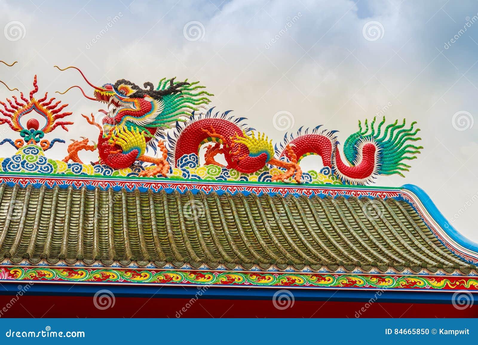 在Anek Kusala Sala Viharn Sien中国寺庙的美好的中国龙雕塑在芭达亚,泰国 它在1987年被修造了