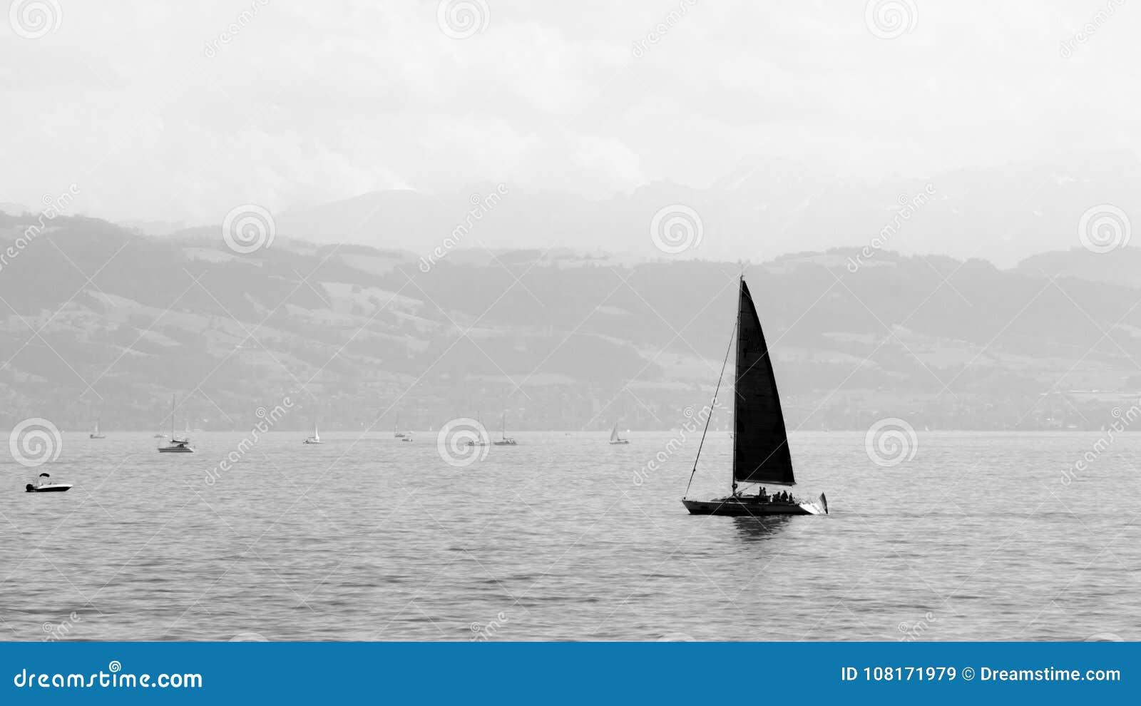 在Bodensee的小游艇航行,黑白照片的德国
