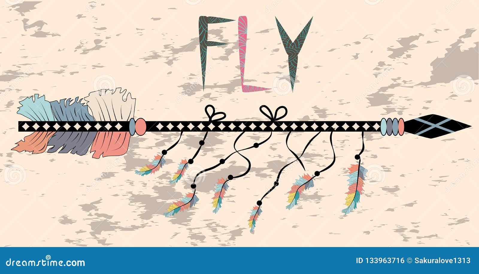 在Boho样式飞行的诱导海报 箭头和字法