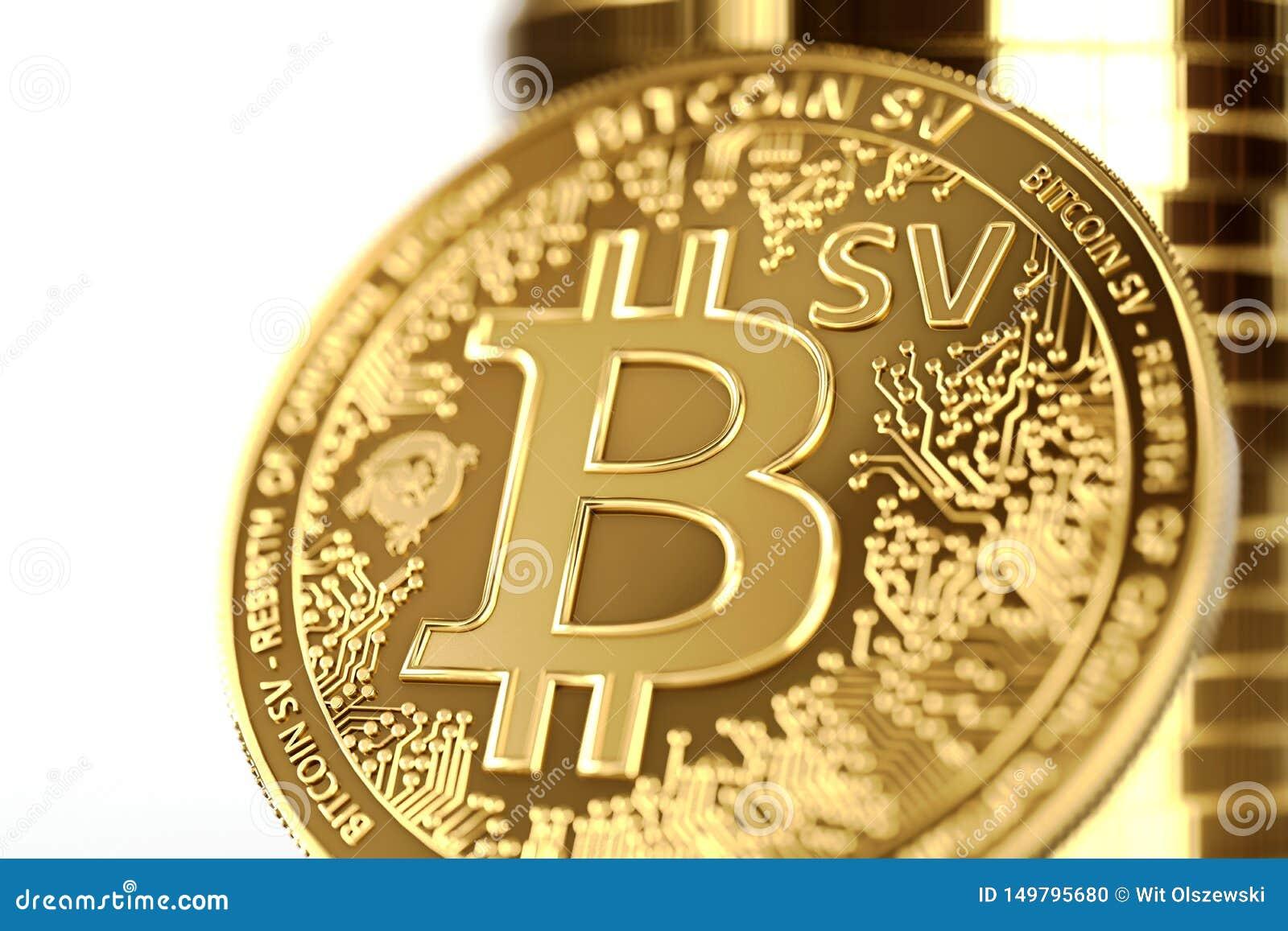 在BSV信件的接近的射击在概念性Bitcoin Satoshi视觉硬币Bitcoin SV 3d??
