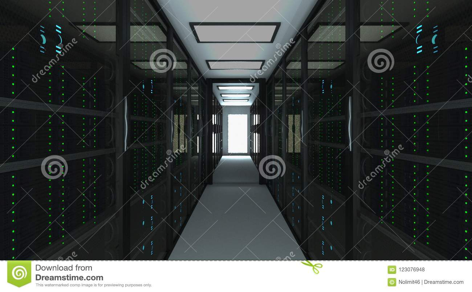 在datacenter、网网络和互联网电信技术,大数据存储的现代服务器室内部和