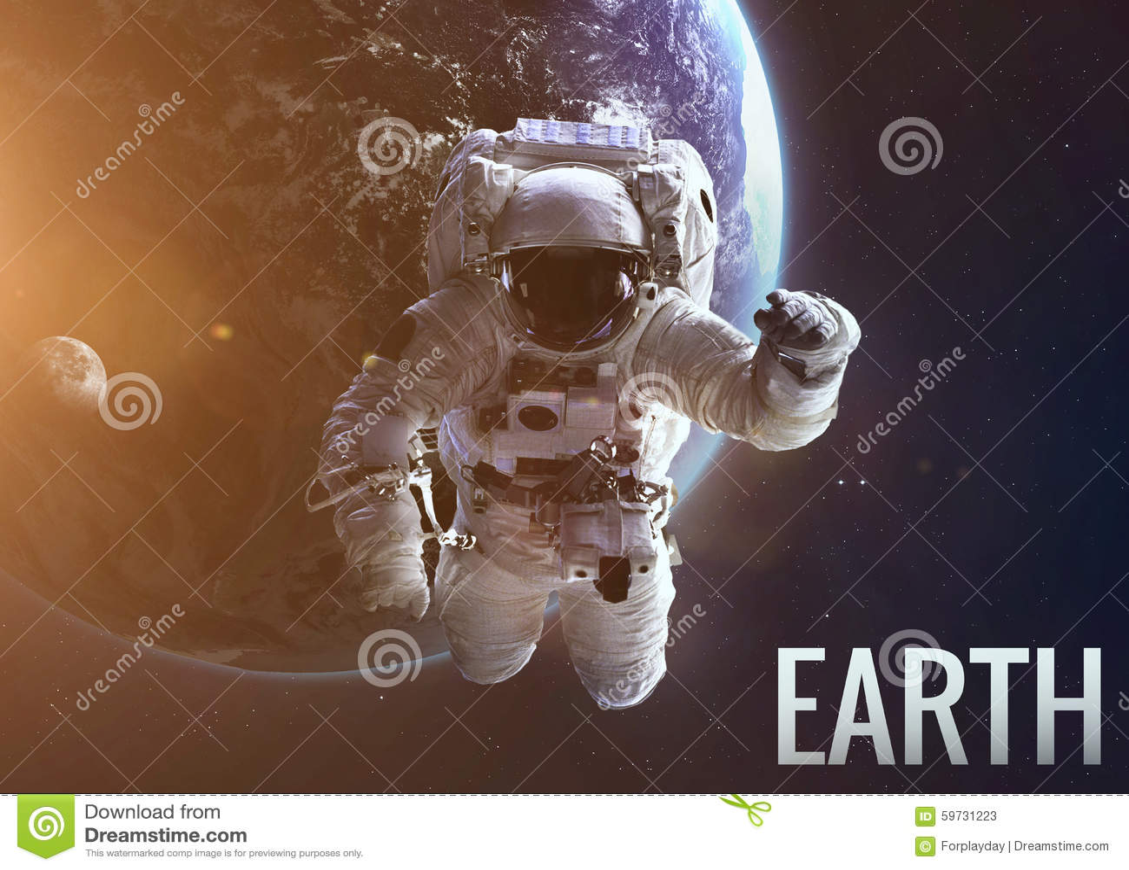 在Earth's轨道的宇航员探索的空间