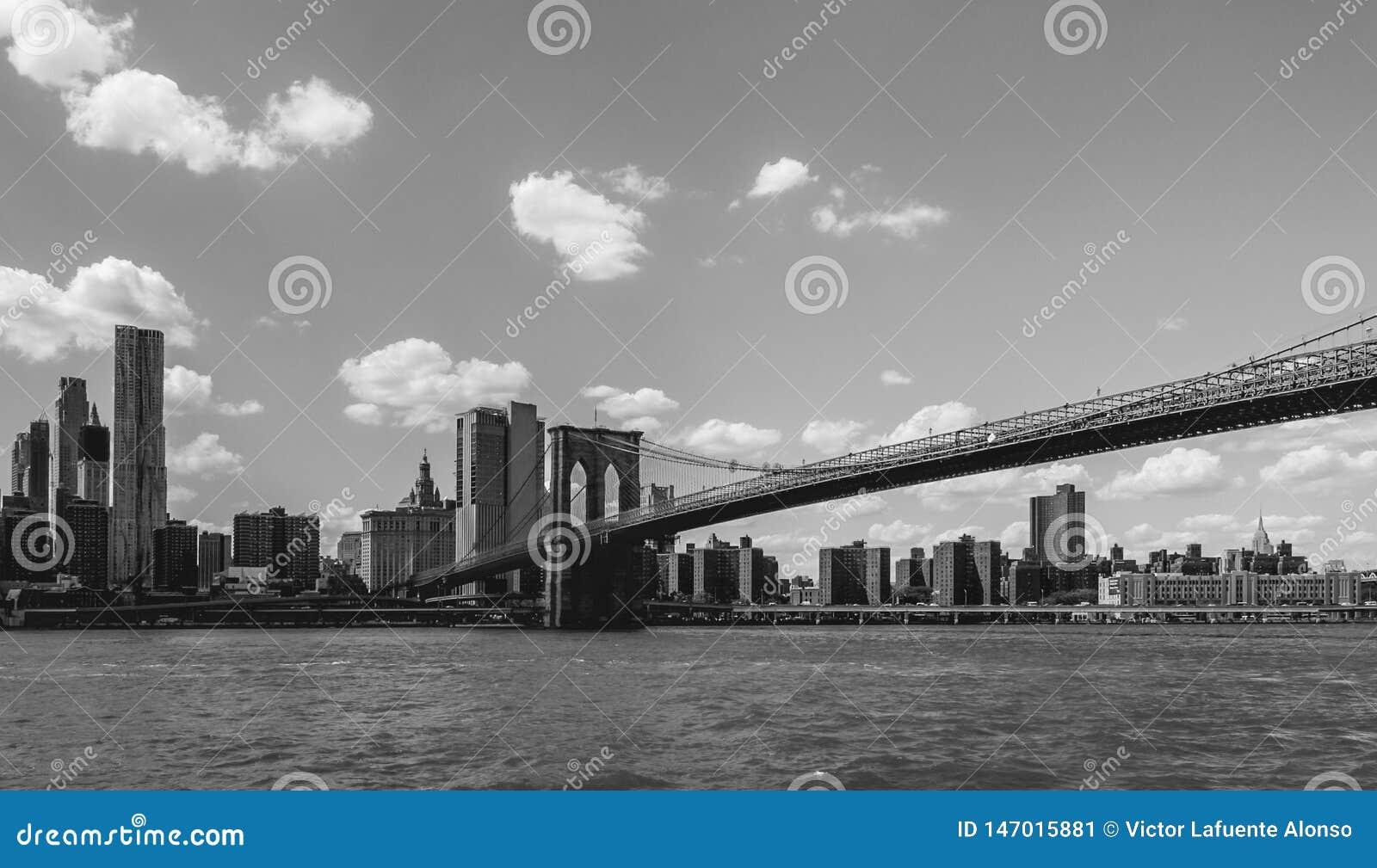 在East河的布鲁克林大桥横穿在纽约