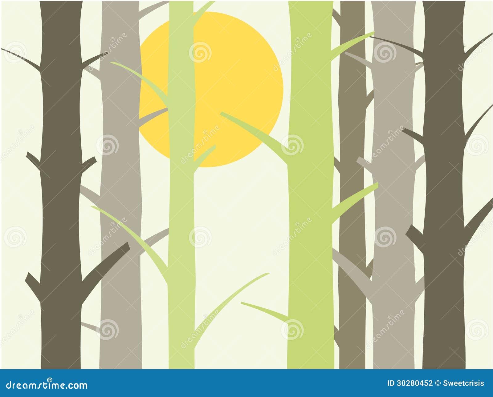 树和太阳背景例证